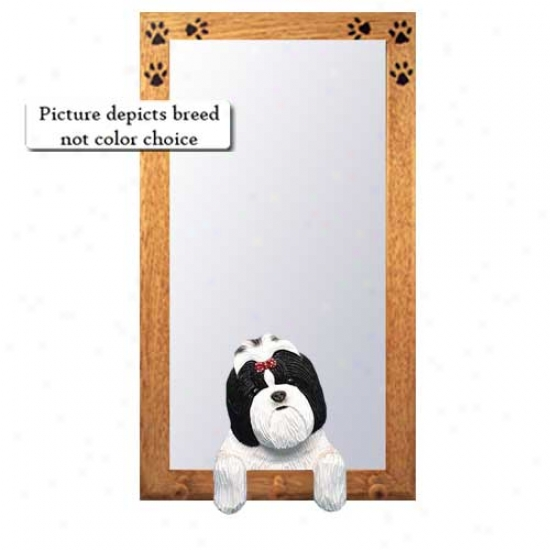 Brown And White Shih Tzu Large room Mirror With Oak Natural Frame