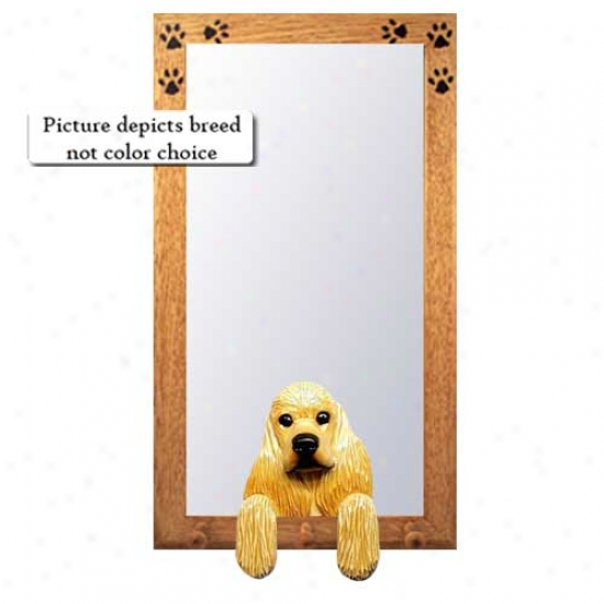 Brown Cocker Spaniel Hall Mirror Wtih Oak Na5ural Frame