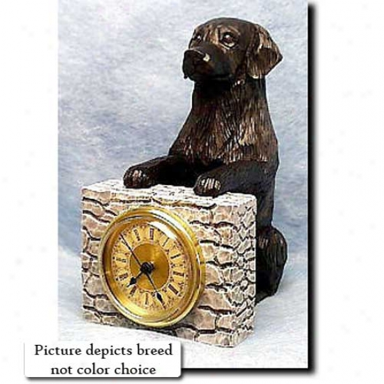 Brown Flat Coated Retriever Mantle Clock