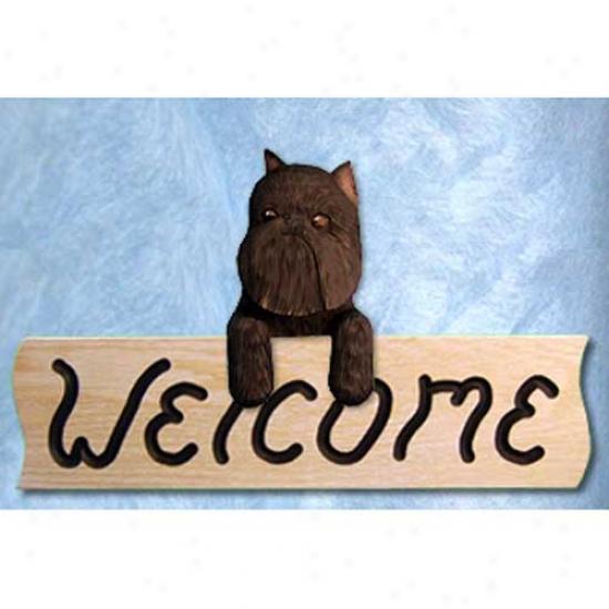 Brussels Griffon Black Welcome Sign Oak