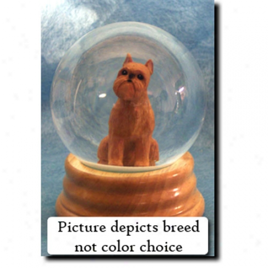 Brussels Griffon (red) Musical Snow Globe
