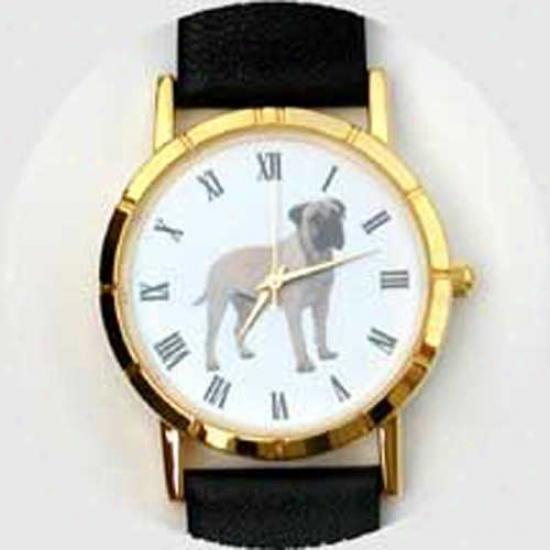 Bull Mastiff Watch - Large Face, Black Leatger