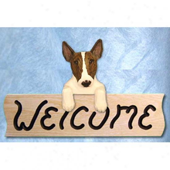Bull Terrier Brindle Welcome Sign Oak