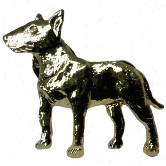 Bull Terrier Pin 24k Gold Plated