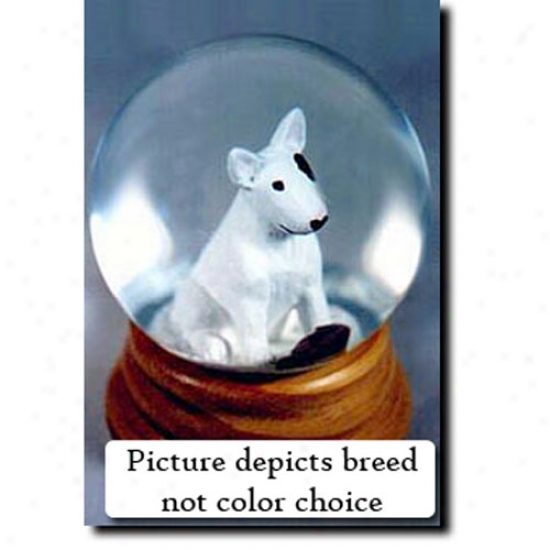 Bull Terrier (white) Musical Snow Globe