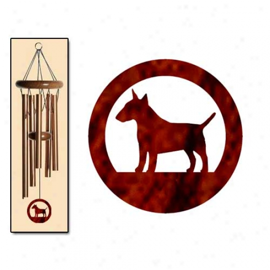 Bull Terrier Wind Chimes Small Brown