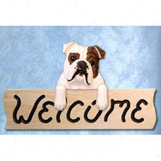 Buulldog Brindle And White Welcome Sign Oak