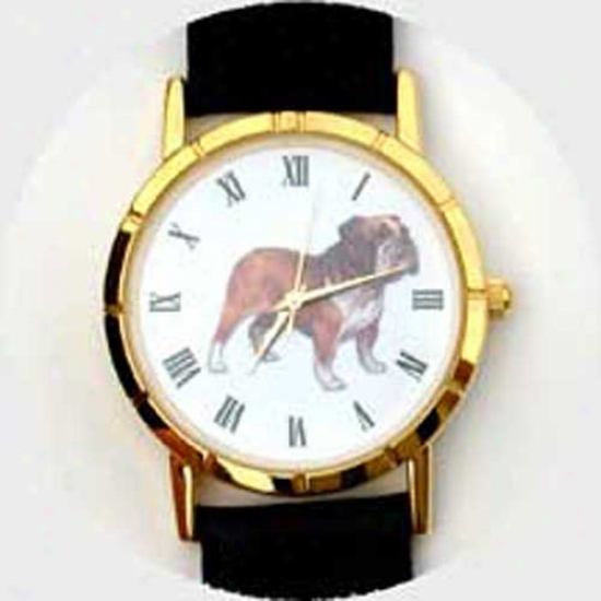 Bulldog Watch - Large Face, Black Leather