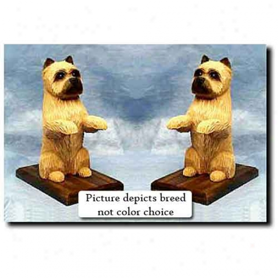 Cairn Terrier Bookends Light Grey