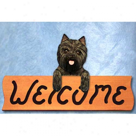 Cairn Terfier Brindle Welcome Sign Maple