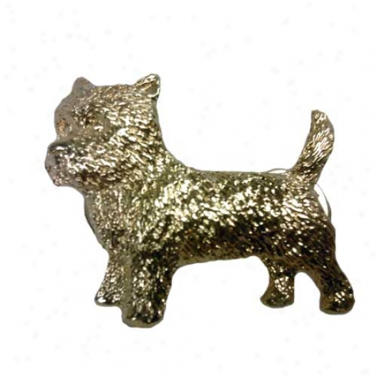 Cairn Terrier Pin 24k Gold Plated