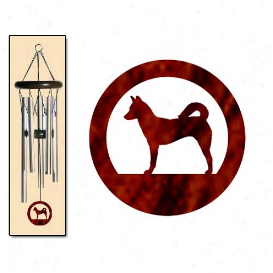 Canaan Dog Wind Chimes Slender Silver