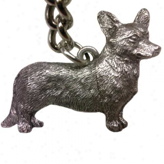 Cardigan Welsh Corgi George Harris Pewter Keychain