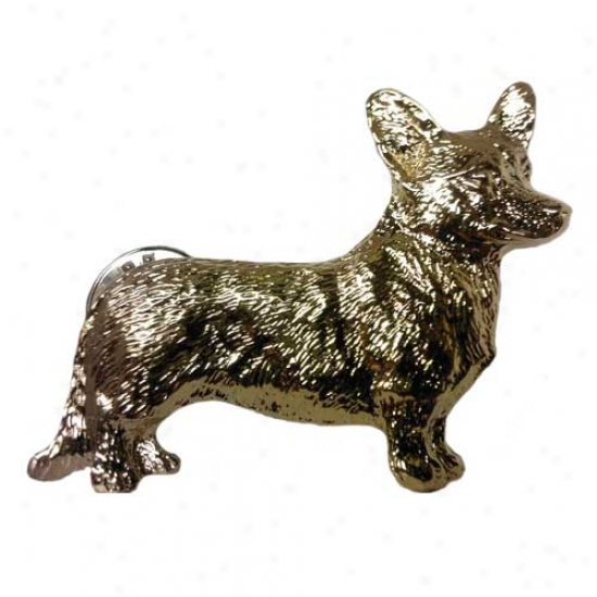 Cardigan Welsh Corgi Pin 24k Gold Plated