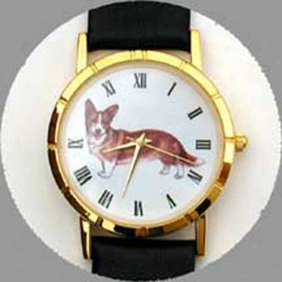 Cardigan Welsh Corgi Watch - Small Face, Black Leather