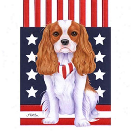 Cavalier King Charles Spaniel Patriotic Breed Garden Flag