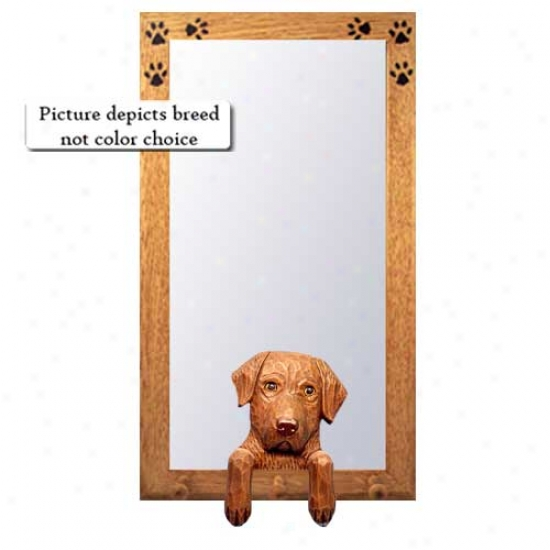 Chesapeake Bay Retriever Hall Mirror With Basswood Pine Frame