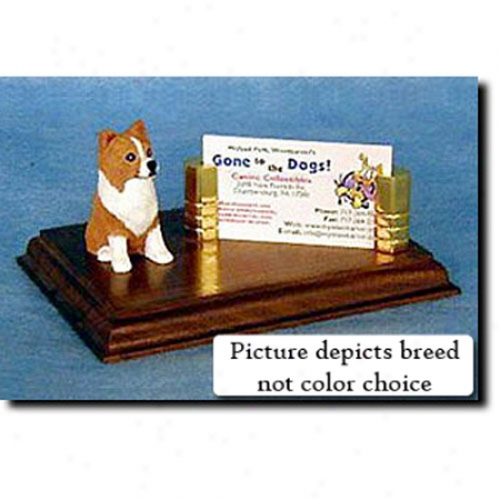 Chihuahua (fawn And Whtie) Business Card Holder - Longhair