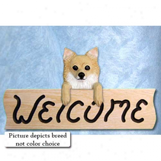 Chihuahua Longhaired White Welcome Sign Oak