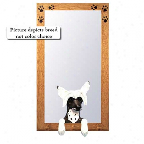 Chinese Crested Hall Mirror With Oak Natural Frame
