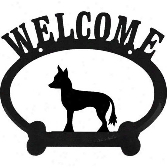Chinese Crested Metal Welcome Sign