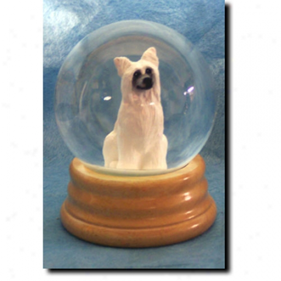 Chindse Crested Musical Snow Globe - Powderpuff