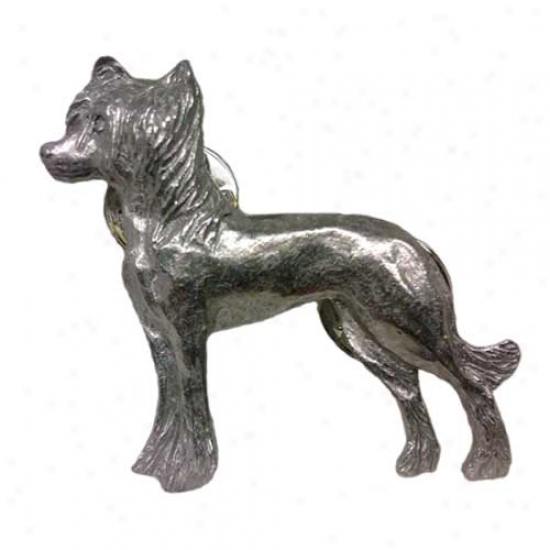 Chinese Crested Pewter Pin