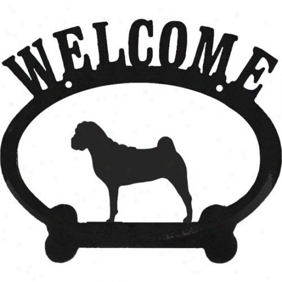 Chinese Shar Pei Metal Welcome Sign