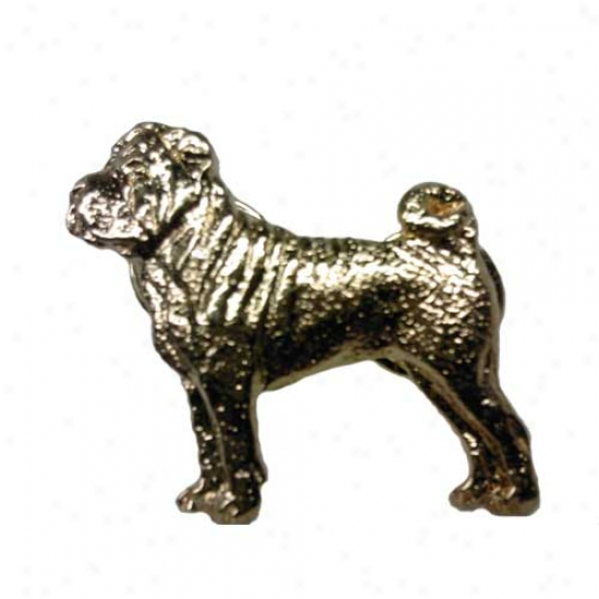 Chinese Shar Pei Pin 24k Gold Plated