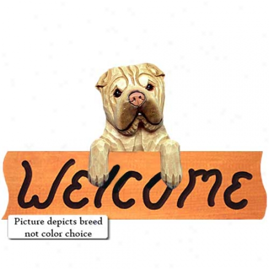 Chinese Shar-pei Red Welcome Sign Maple