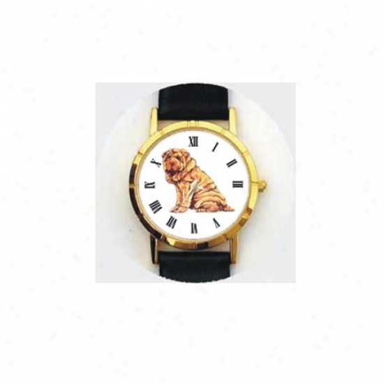 Chindee Shar Pei Watch - Large Face, Black Leather