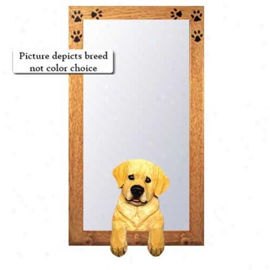 Chocolate Labrador Retriever Large room Mirror With Basswood Walnut Frame Youth