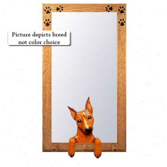 Chocolate Miniature Pinscher Hall Mirror With Basswood Walnut Frame
