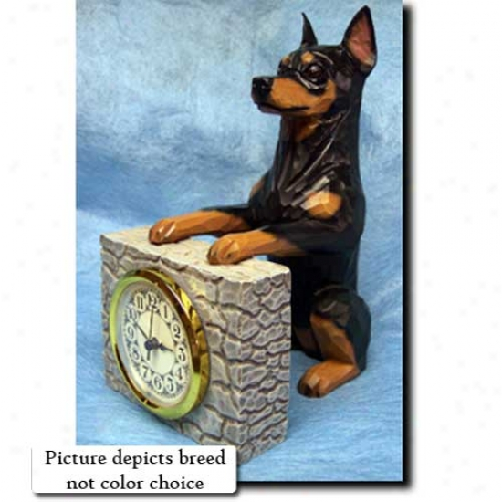 Chocolate Miniature Pinscher Mantle Clock