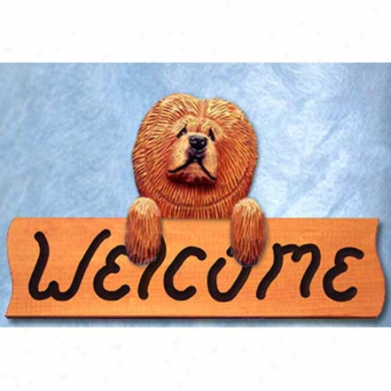 Chow Chow Red Welcome Sign Maple