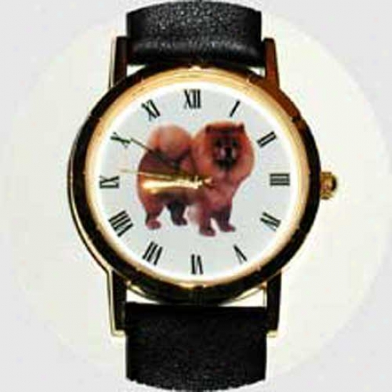 Chow Chow Watch - Large Face, Black Leather
