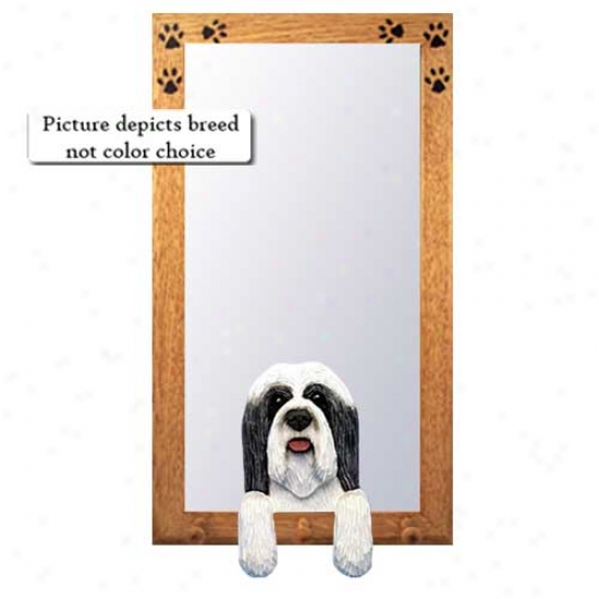 Clue And White Bearded Collie Hall Mirroor With Basswood Pine Frame