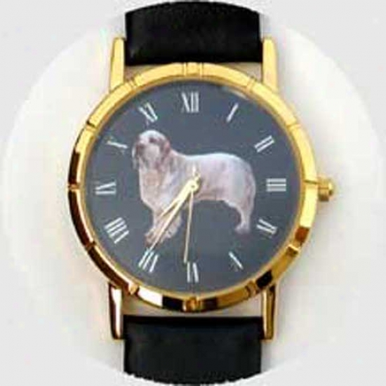 Clumber Spaniel Watch - Small Face, Black Leather