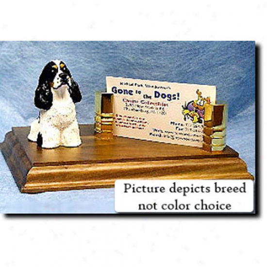 Cocker Spaniel (black And Pure Parti) Calling Card Holder