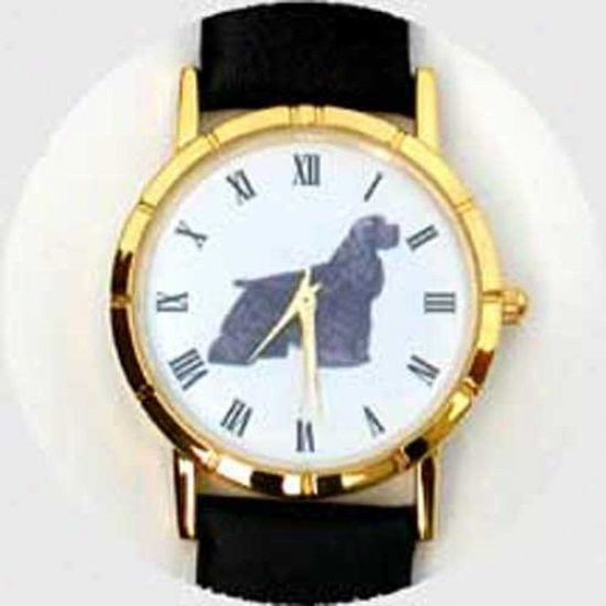 Cocker Spaniel (black) Watch - Large Face, Black Leather