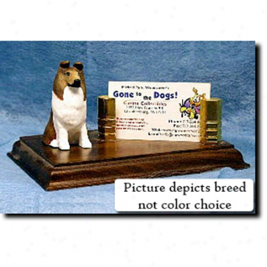 Collie (blue Merle) Business Card Holder - Rough