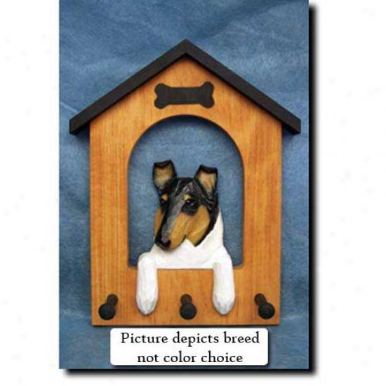Collie (blue Merle Doghouse Leash Holder - Smooth