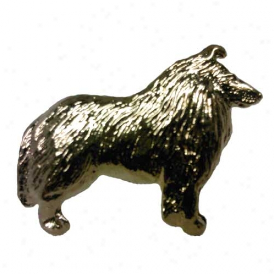 Collie Pin 24k Gold Plated