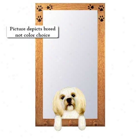 Cream Lhasa Apso Hall Mirrror With Basswood Pine Frame Puppy Clip