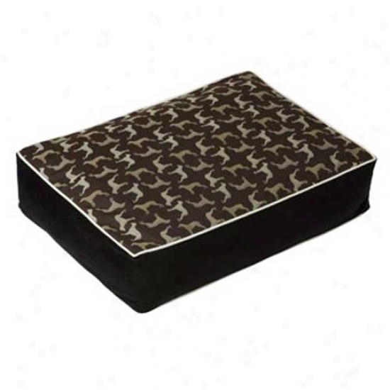 Crypton Wegman Rotator Pattern Rectangle Dog Bed Small Midnight Black