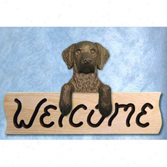 Curl-ycoated Retrieber Black Welcome Sign Oak