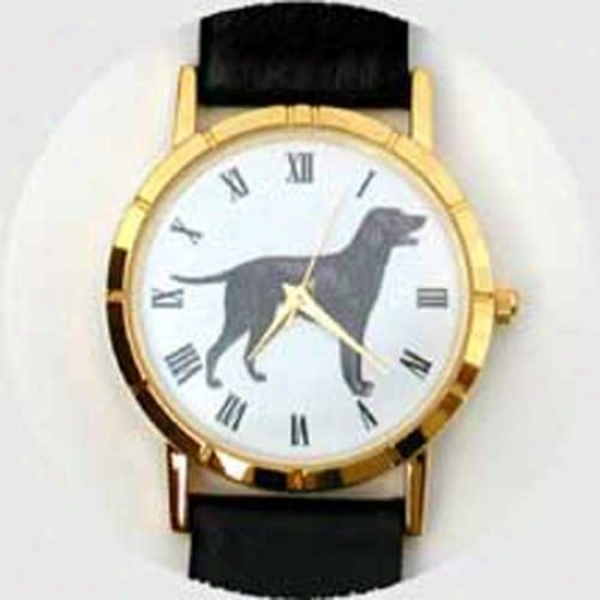 Curly-coated Retriever Watch - Small Face, Black Leatheer