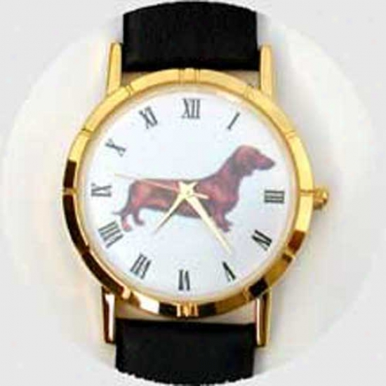 Dachshund (smooth) Watch - Smalk Face, Black Leather