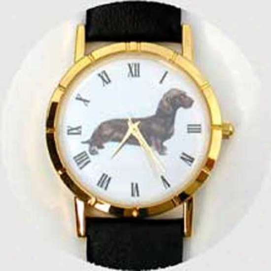 Dachshund (wire) Watch - Large Face, Black Leather