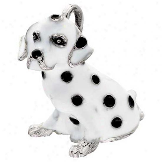 Dalmatian Enameled Keychain